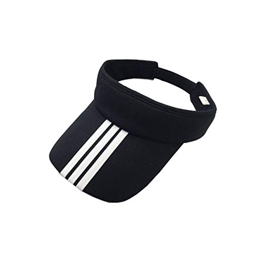 Unisex Adjustable Sun Sports Visor Cap Golf Cap Tennis Visor Hat Lightweight Sunscreen UV Protection Sweat Absorption for Cycling Running Golf (Black+Stripe) ()