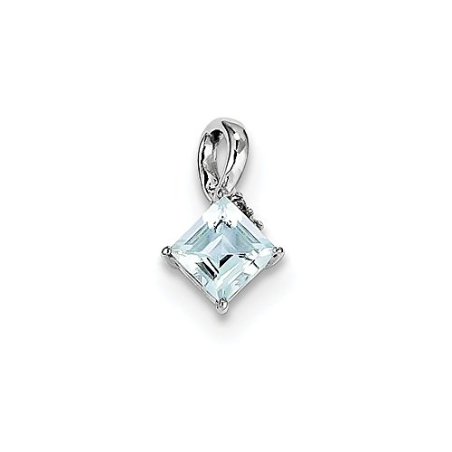 Sterling Silver Diamond and Simulated Aquamarine Square Pendant (6mm x 12mm)