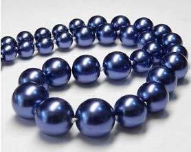 Elegant 10mm Sapphite Blue Sea Shell Pearl Necklace 18''AAA G558> Lovely Women's Wedding Jewelry