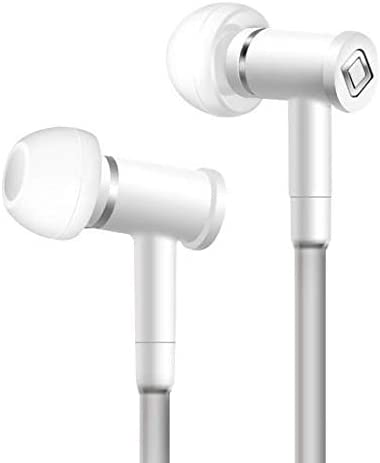 Aircom A1 Stereo Earphone - Revolutionary Wired Micro Earbuds with Airflow Audio Technology – Handsfree Headphones with Built-in Microphone (White)