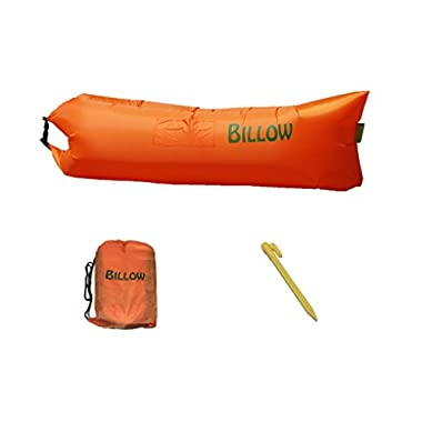 Orange Inflatable Air Lounger with Tent Stake made from Parachute Nylon for use Camping or at Beach Fits 2-3 People