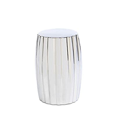 Ceramic Silver Decorative Stool Stunning Elegant Indoor and Outdoor Use New