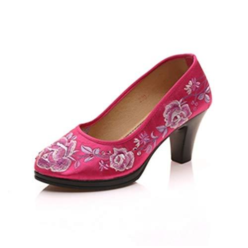 Satin Chaussures Toe Pumps Dames Femmes Tour Rouge Brodé Rétro Moyen Jrenok Talon Pompes Chunk Floral Élégantes wRIBFq