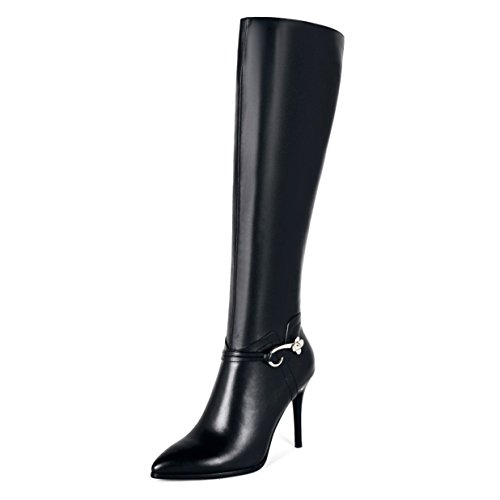 VOCOSI Women's Leather Over The Knee Boots Pointy Toe Side-Zip High Heels Dress Boots Black With Metal Buckle