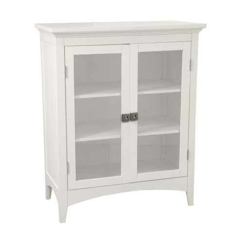 Argo Double Doors Floor Cabinet K2, Two Adj-shelves with Crystal Door Knobs