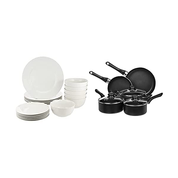 31zmOKHm8hS Amazon Basics - 8-teiliges Kochgeschirr mit Antihaftbeschichtung & Café Geschirrservice mit schwarzem Rand, 16-teilig…