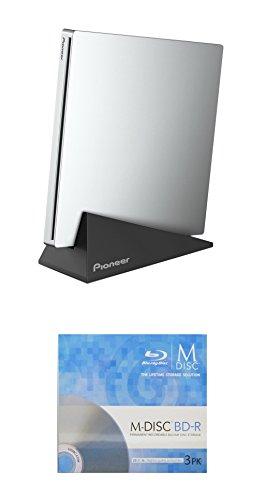 (Pioneer 6X BDR-XU03 Slim Portable Blu-ray Burner Bundle with 3 Pack M-DISC BD - Supports USB 3.0, BDXL, BD, DVD, and CD Media (Silver, Retail Box))