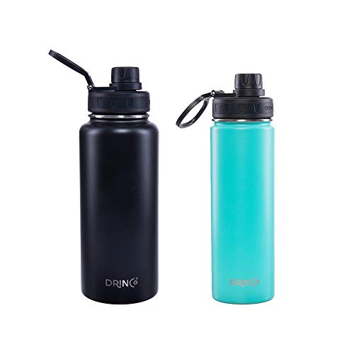 Drinco Vacuum Insulated Stainless Steel Water Bottle Spout Lid, Wide Mouth, Leak Proof, Powder Coated, Double Wall, 18/8 Grade, Stainless Steel Water Bottle, 30oz + 20oz, 2 Pack (Black/Aqua) ()
