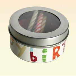 Kerze in der Dose, happy birthday, GELB Torte mit 4 bunten Kerzen