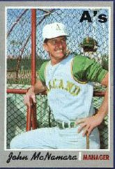 1970 Topps Regular (Baseball) Card# 706 John McNamara of the Oakland Athletics VG Condition by Topps