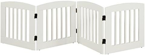 BarkWood Freestanding Wood Pet Gate – 4 Panel Expansion – Medium – 24 H – White Finish