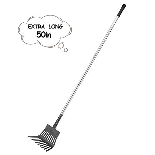 "Rakes for Lawns Yangbaga LeafRake, 33.9""-56.3""Adjustable Garden Rake 8"" Wide Lightweight Steel Handle ,Non-slip handle, for Gardeners,Kids Leaf Rake ,Camp Rake"