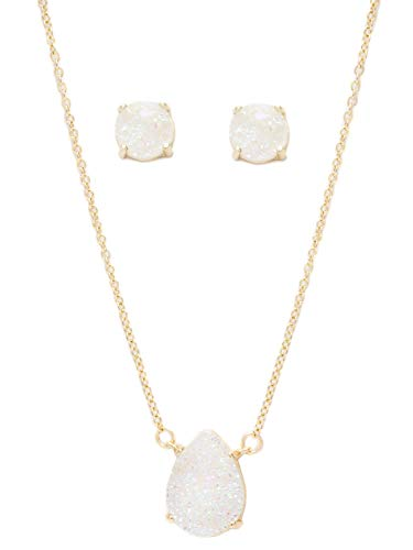 Laura Janelle Druzy Necklace and Earring - And Earring Set Necklace Quartz