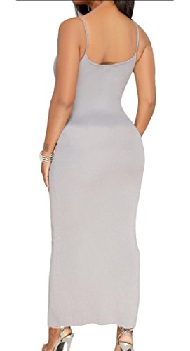 V Dress Party Neck s ainr Split Spaghetti Gery Sleeveless Women Zipper Bodycon pxvxZIFqnw