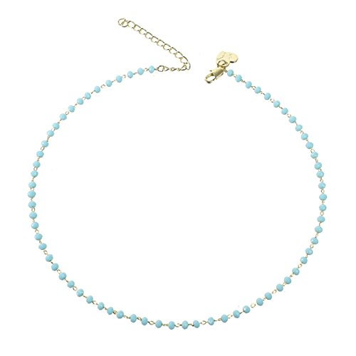 Beads Beaded Choker - OSIANA Women Dainty Gold Choker Handmade Beaded 14K Gold Fill Necklace with Lucky Beads Opal Crystal(color:blue)