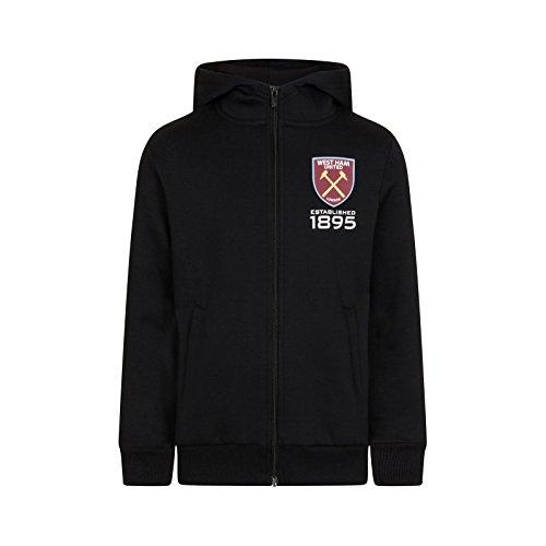 West Ham United Fc Official Gift Boys Fleece Zip Hoody Black 6-7 Years SB (West Ham Hoodie)