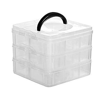 Rangement 18 3 Empilable Transparent Boîte De Plastique Niveaux En Oq8x5