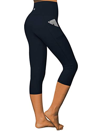 BUBBLELIME High Compression Yoga Capris Out Pocket Running Capris High Waist 4 Way Stretch