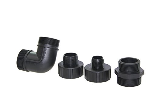 fluent power hose fitting kit for submersible sump pump including elbow and output connector with thread size npt15 npt125 npt1 and npt34 - Garden Hose Fitting Size