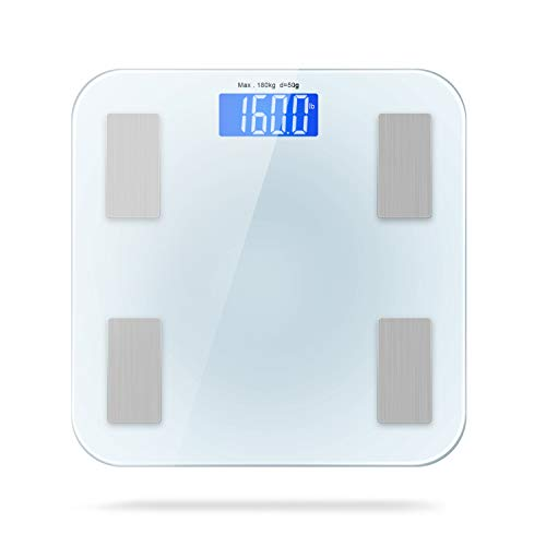Bluetooth Body Fat Scale Smart Digital Scale with APP for Android and iOS, Tempered Glass Surface, Auto On/Off, Body…