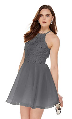 - Women's Halter Spaghetti Strap Beaded Lace Chiffon Bridesmaid Dress Short Evening Gown Grey Size 12