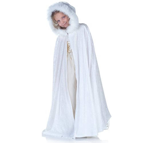 Underwraps Panne Kids Cape, White - Capes For Girls
