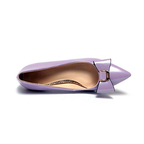 Tirare Maiale Basso Tacco Chiusa Puro Scarpe Di Voguezone009 Ballerine A Viola Pelle Punta Donna 6RnZwx0