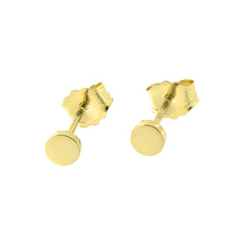 Automic Gold Solid 14k Yellow Gold Circle Earrings, 3mm