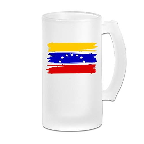 Mug Stars Frosted - Venezuelan Stars Flag Frosted Glass Stein Beer Mug - Personalized Custom Pub Mug - 16 Oz Beverage Mug - Gift For Your Favorite Beer Drinker