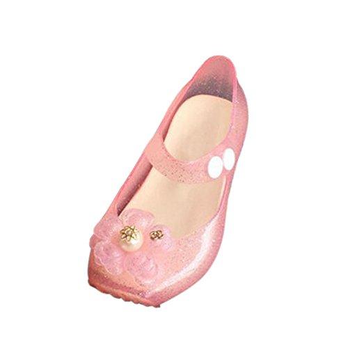 Hzjundasi Infante Bebés Niña Linda Flowers Antideslizante Suave Jalea Ballet Zapatos Niñito Niños Playa Sandalias Lluvia Botas Rosa