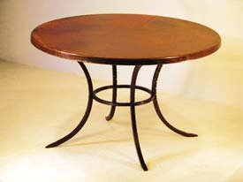 Amazoncom Hammered Copper Top Round Curved Solid Leg Dining Table - Hammered copper round dining table