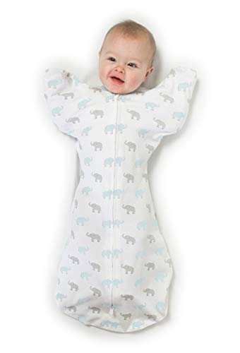 Large Product Image of Amazing Baby Transitional Swaddle Sack with Arms Up Mitten Cuffs, Tiny Elephants, Blue, Medium, 3-6 Months (Parents' Picks Award Winner)