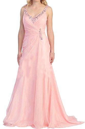 Robe Avril Mère Bretelles Élégante De Mariée Illusion Du Cou V Dos Rose Robe Longue