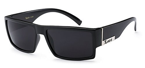 Locs Mens Flat Top Gangster Sunglasses Black Silver Frame 91026 ()