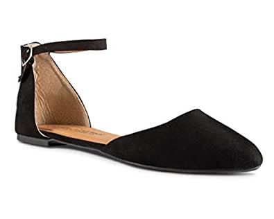 Twisted Womens Faux Suede Almond Toe Ballet Flat with Ankle Strap Black Size: 6
