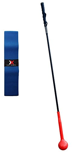 Flexible Swing Trainer by EXCL Sports 47 Inches Long for Tempo and Strength with Golf Grip Trainer & One Piece Takeaway Band