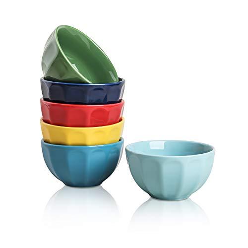Selamica Porcelain Fluted Latte Bowl Set – 28 Ounce for Cereal, Pasta, Soup, Fruits – Set of 6, Assorted Colors