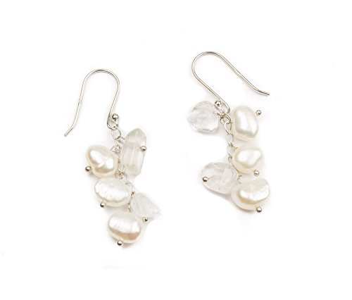 HinsonGayle Freshwater Cultured Pearl & Clear Quartz Crystal Dangle Earrings Sterling Silver - 7mm White Crystal Pearl Earrings