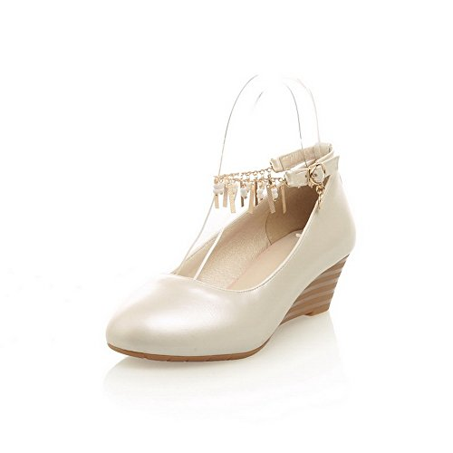 BalaMasa Womens Solid Buckle Low-Heel Soft Material Pumps-Shoes Beige xsbUm