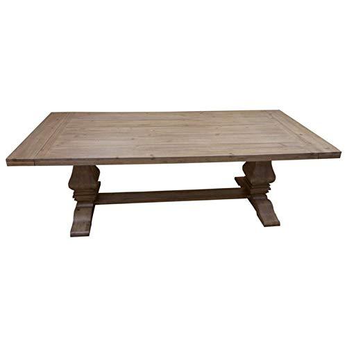 (Florence Rectangular Double Pedestal Dining Table Rustic Smoke)