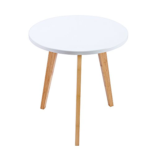 WILSHINE Small Round End Table for Small Spaces in Living Room/Bedroom White/Natural, 15.5 Inch (3 Legged Round Table)