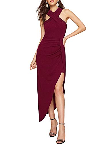 - Women Criss Cross Halter Dress Chic Cocktail Party Dress Long Swing Wine Red