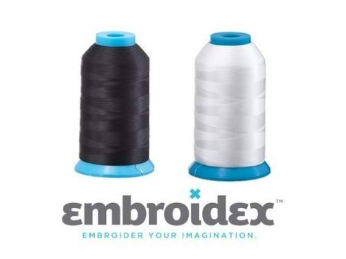 Set of 2 HUGE Bobbin Thread for Sewing And Embroidery Machine 1 Black and 1 White 5500 Yards Each - Polyester - Embroidex BCACS24400