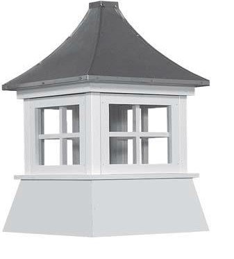 Cupola 16'' Vinyl Shed Cupola with Windows Black Metal Pagoda Roof