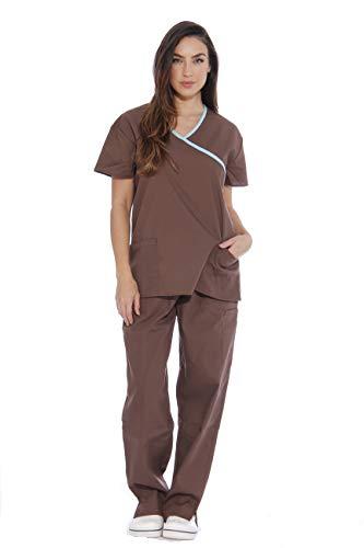 - 1153W Just Love Women's Scrub Sets / Medical Scrubs / Nursing Scrubs - S, Brown, Chocolate with Aqua Trim,Chocolate With Aqua Trim,Small