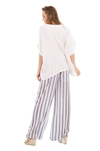 Love In P70010 Wide Leg Striped Pants with Pockets Navy/White M by Love In (Image #4)