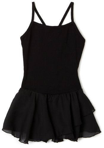 Capezio Big Girls' Camisole Cotton Dress,Black,L (12-14)