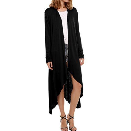 AHAYAKU Coat for Women Casual Solid Blouse Long Sleeve Irregular Cardigan Splice Coat Tops 2019 New Black
