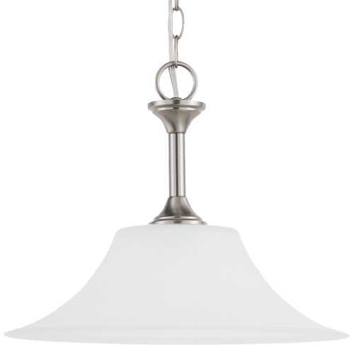 Sea Gull Lighting 65806-962 Pendant with Satin EtchedGlass Shades, Brushed Nickel Finish