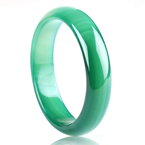 Auspicious Cloud Natural Green Color Agate Jade Bangle Bracelet for Womens (XLarge Size(64-66)) ()